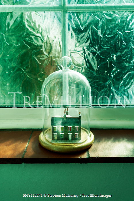 Stephen Mulcahey MINIATURE HOUSES UNDER DOME BY WINDOW Miscellaneous Objects