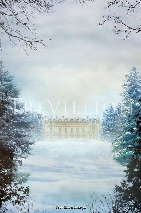 Drunaa Mansion in winter landscape