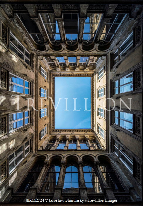 Jaroslaw Blaminsky HISTORICAL BUILDING WITH ATRIUM FROM BELOW Houses