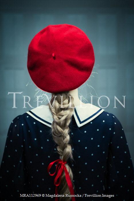 Magdalena Russocka blonde woman in red beret inside