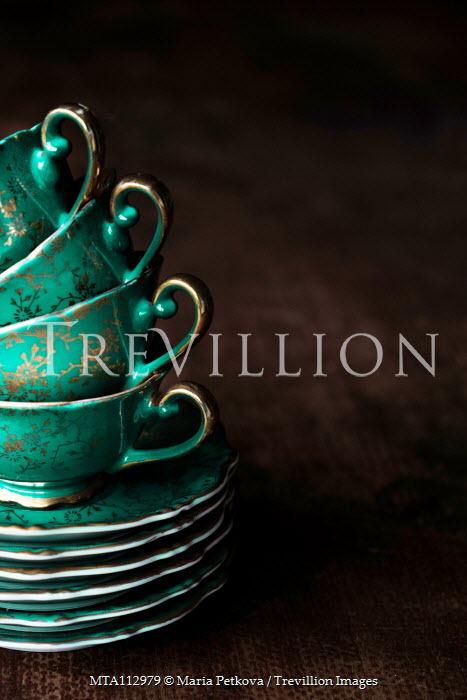 Maria Petkova STACK OF GREEN CHINA TEACUPS AND SAUCERS Miscellaneous Objects