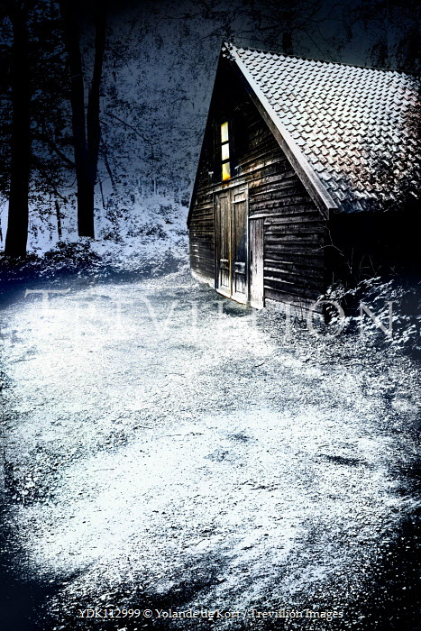 Yolande de Kort LIGHT IN BARN AT NIGHT WITH SNOW Miscellaneous Buildings