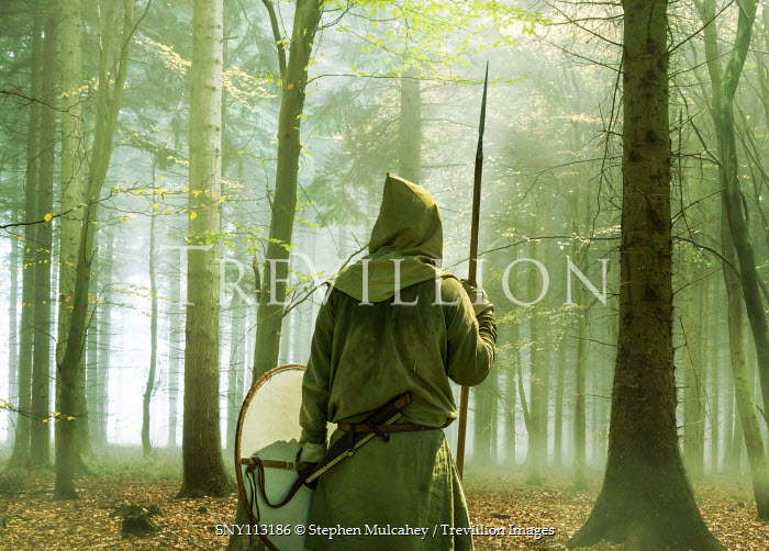 Stephen Mulcahey A hooded warrior  hiding in a misty wood
