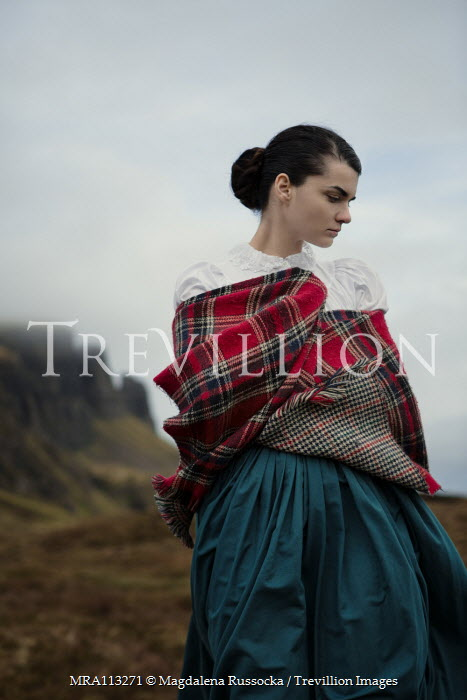 Magdalena Russocka close up of historical scottish woman standing on moors