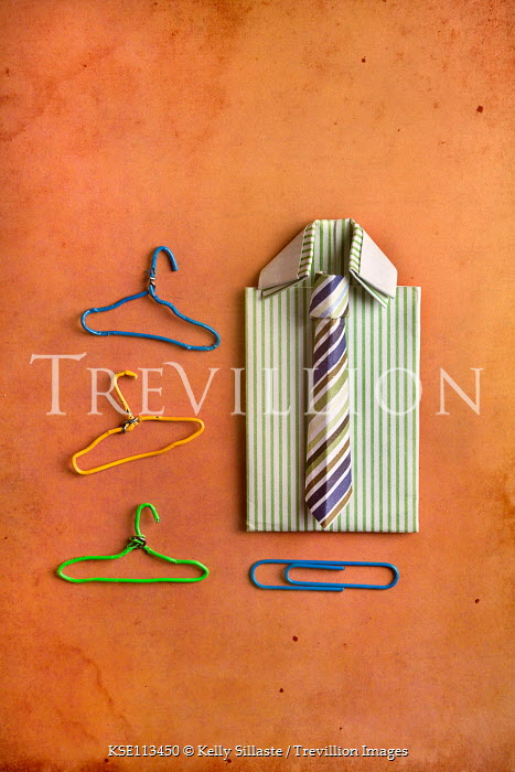 Kelly Sillaste Paper craft shirt and tie with paper clip hangers