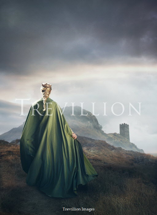 Mark Owen Young woman in green cloak and crown on hill