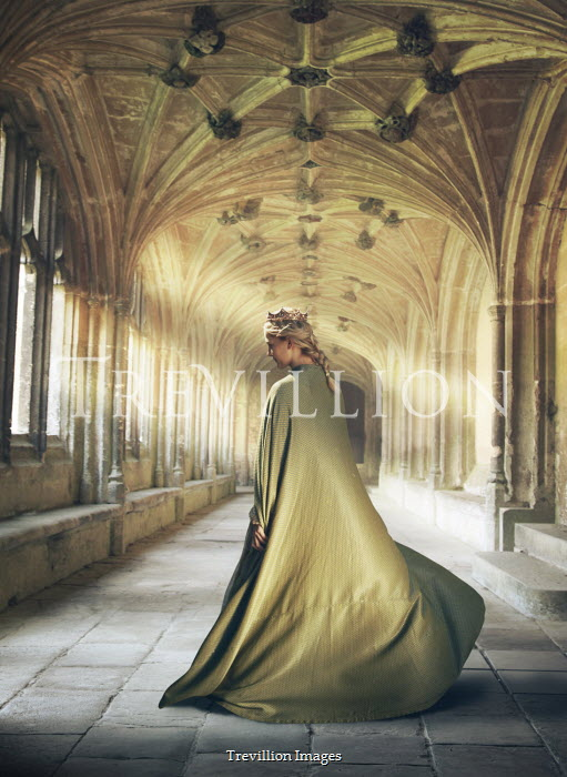 Mark Owen Young woman with green cloak and crown in cloister