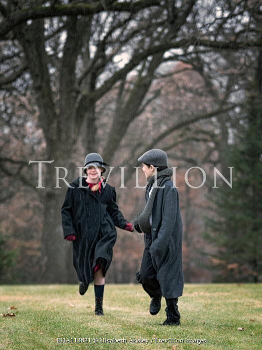 Elisabeth Ansley HAPPY BOY AND GIRL RUNNING IN PARK Children