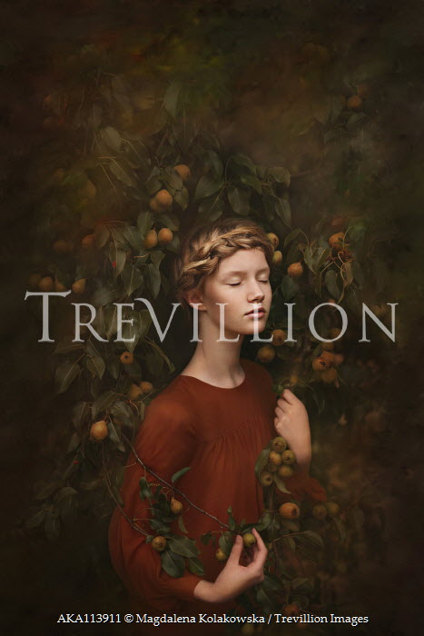 Magdalena Kolakowska Teenage girl by pear tree