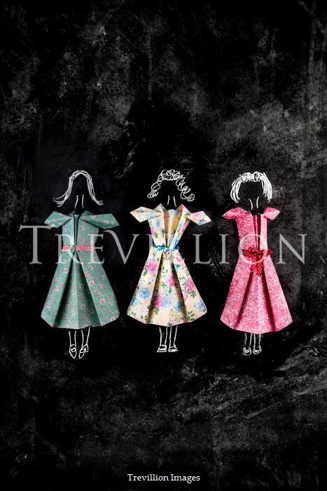 Kelly Sillaste Paper craft dresses on black background
