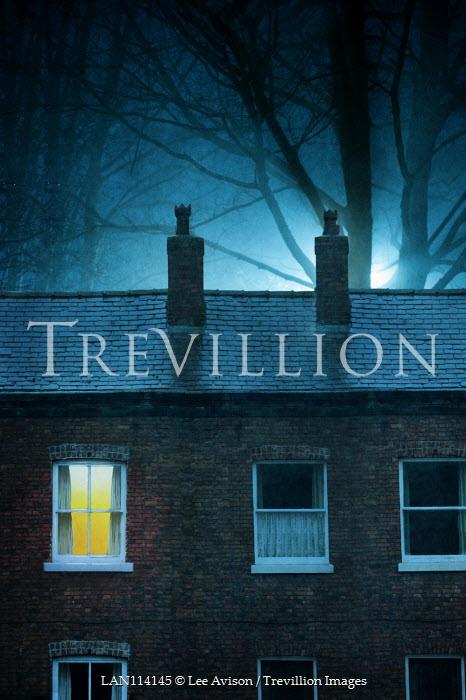 Lee Avison terraced houses at night one window light on