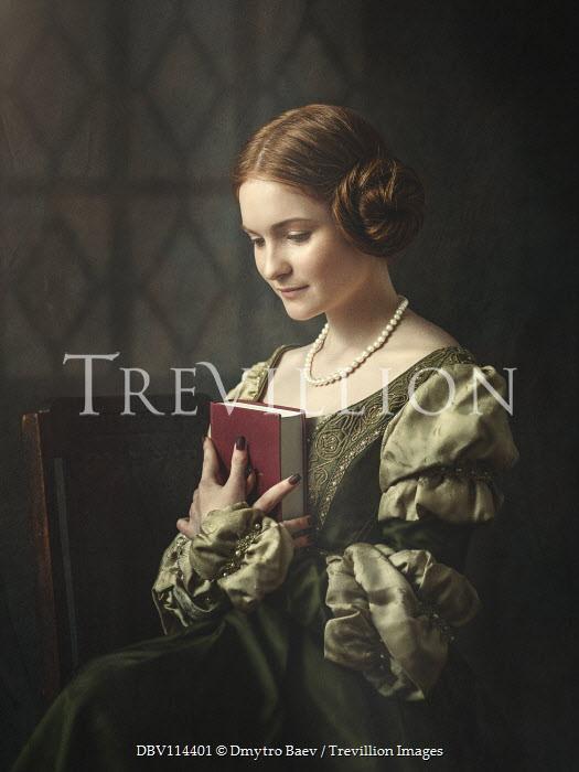 Dmytro Baev HISTORICAL WOMAN SITTING HOLDING BOOK INDOORS Women