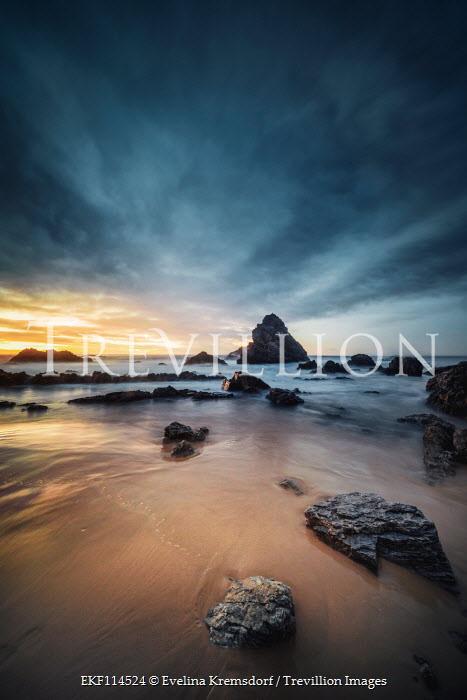 Evelina Kremsdorf SANDY BEACH WITH ROCKS AT SUNSET Seascapes/Beaches