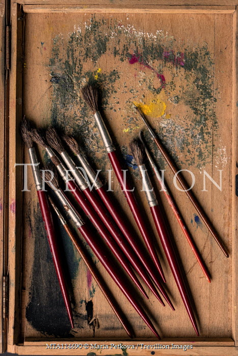 Maria Petkova PAINTBRUSHES IN BOX FROM ABOVE Miscellaneous Objects