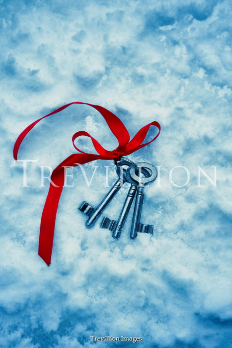 Magdalena Russocka bunch of keys with red ribbon abandoned in snow