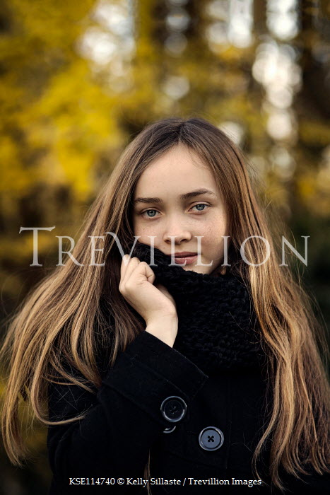 Kelly Sillaste GIRL WITH LONG HAIR IN COAT OUTDOORS Children