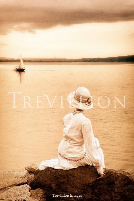 Ayal Ardon HISTORICAL WOMAN SITTING BY LAKE WATCHING YACHT Women