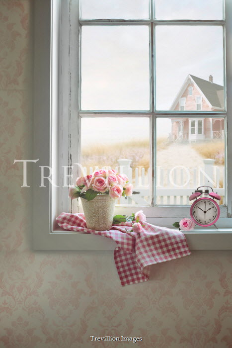 Sandra Cunningham ROSES AND CLOCK IN WINDOW OF HOUSE Houses