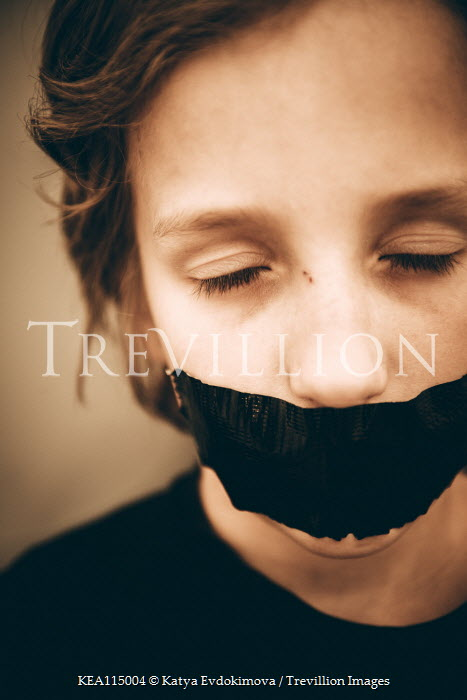 Katya Evdokimova BOY WITH MOUTH COVERED WITH TAPE Children
