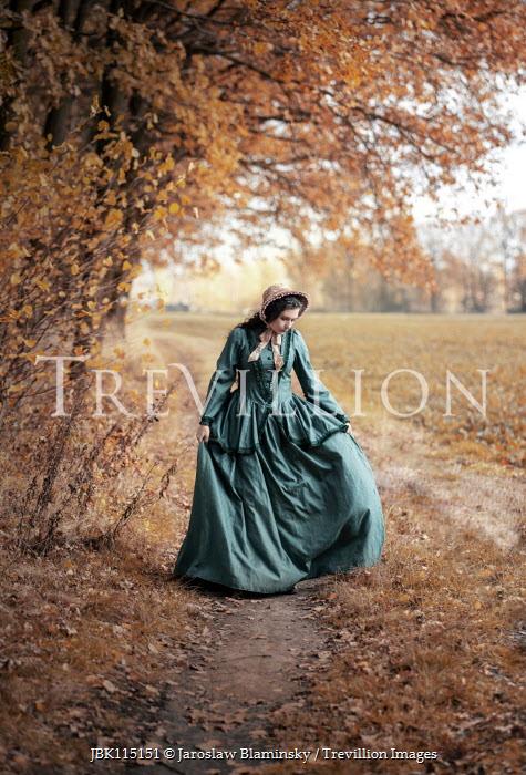 Jaroslaw Blaminsky HISTORICAL WOMAN WALKING ON COUNTRY PATH Women