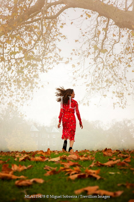 Miguel Sobreira Girl Red Dress Running in Autumn Park