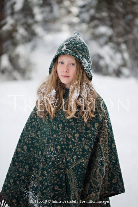 Jaime Brandel Girl in green cloak during winter Children