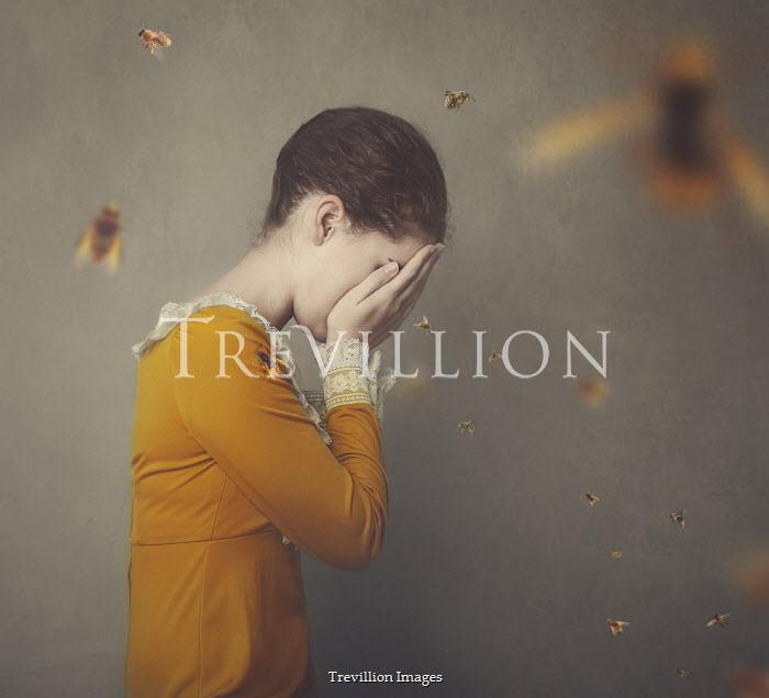 Anna Buczek Sad teenage girl with bees