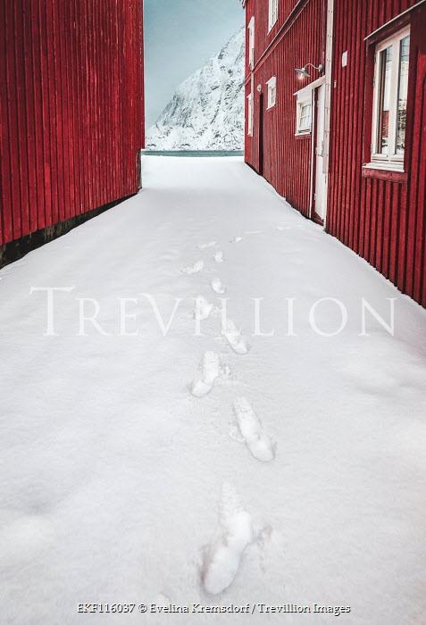 Evelina Kremsdorf Footprints in snow by cabin