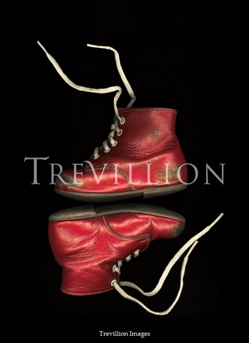Magdalena Russocka Worn red child's shoes from above