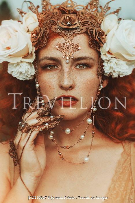 Jovana Rikalo WOMAN IN ORNATE HEADDRESS AND JEWELLERY WITH FLOWERS Women