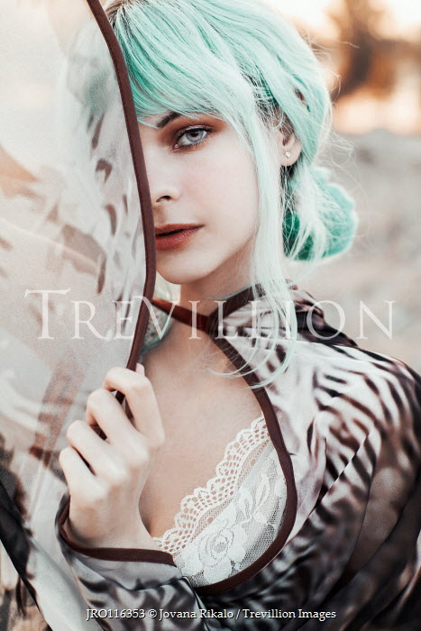 Jovana Rikalo WOMAN WITH GREEN HAIR AND PATTERNED DRESS Women