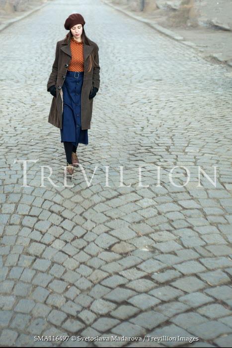 Svetoslava Madarova GIRL IN BERET WALKING ON COBBLED STREET Women
