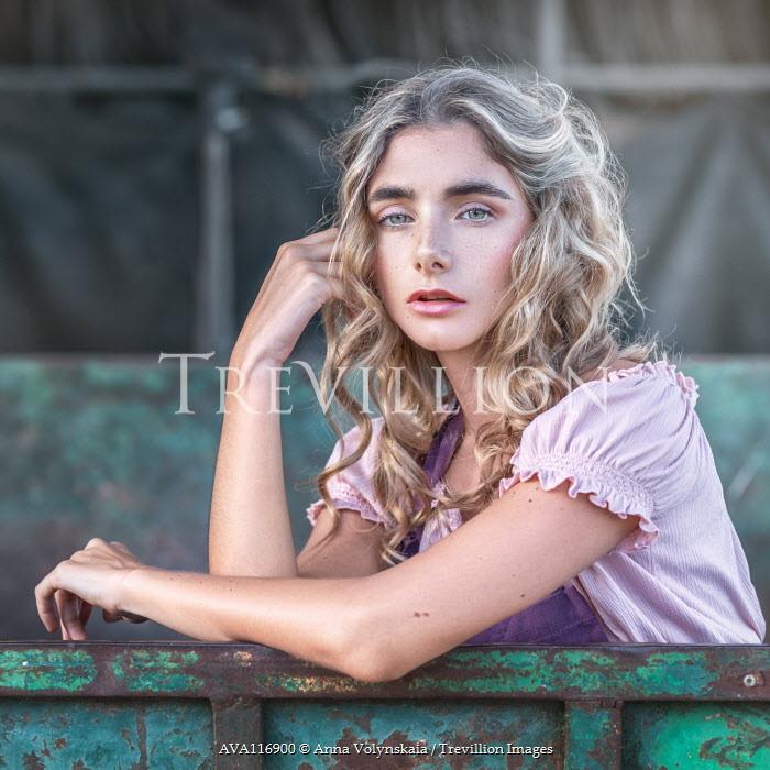 Anna Volynskaia BLONDE GIRL IN SUMMER DRESS OUTDOORS Women