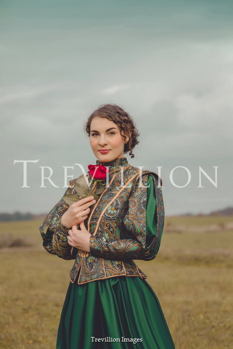 Joanna Czogala HISTORICAL WOMAN WITH ROSE IN COUNTRYSIDE Women
