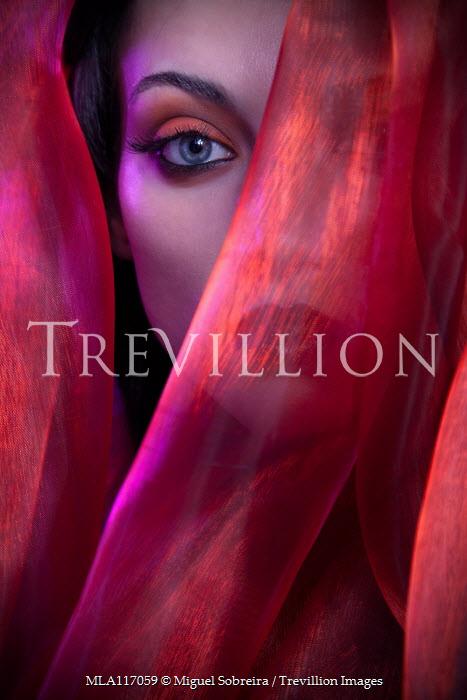 Miguel Sobreira Woman Behind Red Silk Veil Women