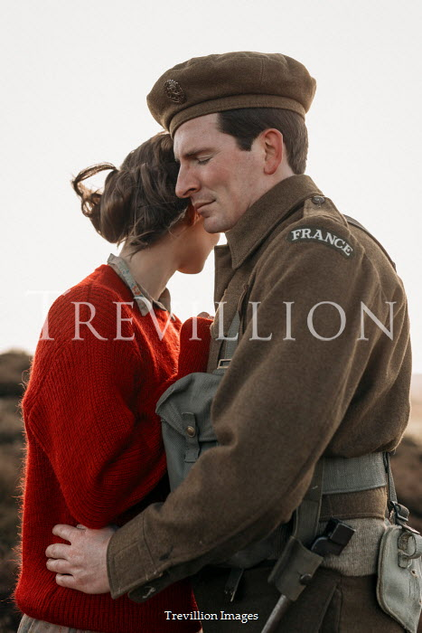 Shelley Richmond WARTIME COUPLE EMBRACING IN COUNTRYSIDE Couples