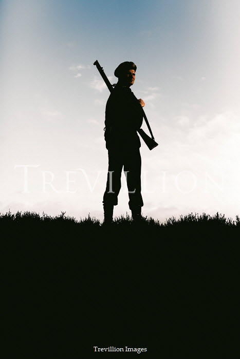 Shelley Richmond SILHOUETTED WW2 SOLDIER WITH RIFLE IN FIELD Men
