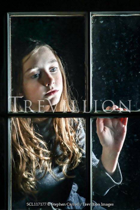 Stephen Carroll SAD GIRL WATCHING FROM WINDOW AT NIGHT Children