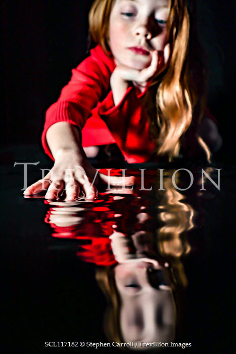 Stephen Carroll LITTLE GIRL IN RED TOUCHING WATER Children