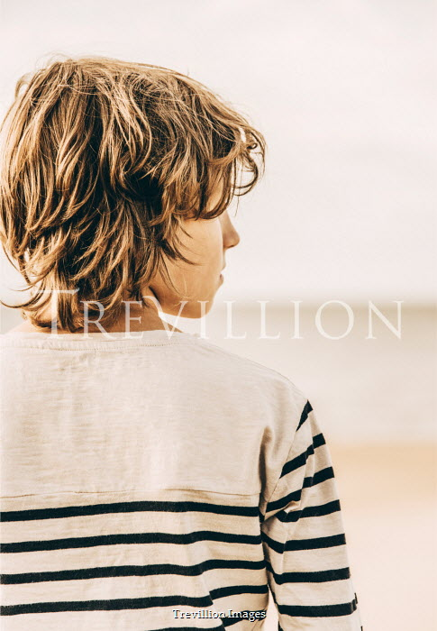 Katya Evdokimova BOY IN STRIPY TOP ON SANDY BEACH Children