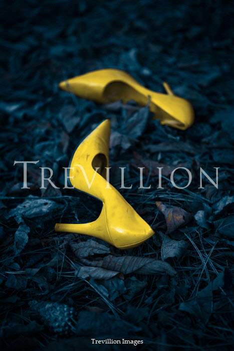 Magdalena Russocka yellow stiletto shoes lying in leaves