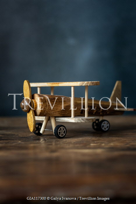 Galya Ivanova CLOSE UP OF RETRO WOODEN TOY AEROPLANE Miscellaneous Objects