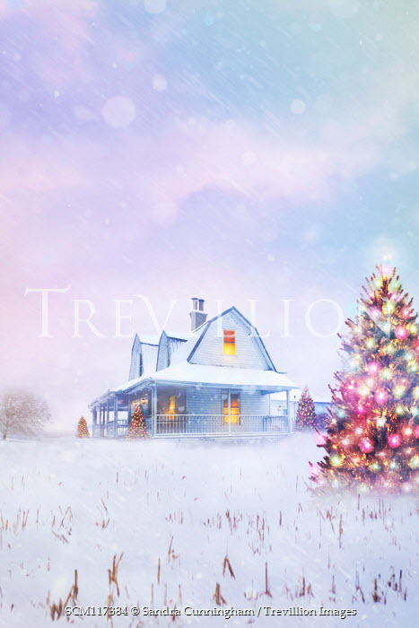 Sandra Cunningham LIGHTS IN HOUSE WITH SNOW AND CHRISTMAS TREE Houses