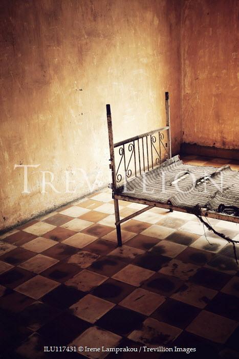 Irene Lamprakou METAL BED IN SHABBY ROOM Interiors/Rooms