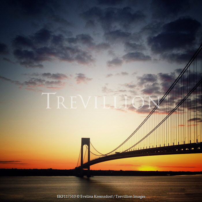 Evelina Kremsdorf Verrazano-Narrows Bridge at sunset in New York City