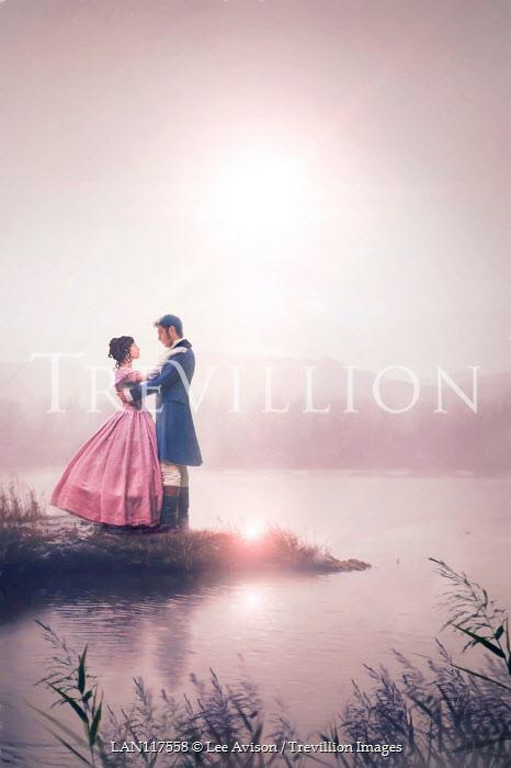 Lee Avison romantic victorian couple at the lake at sunrise