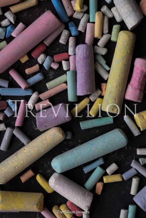 Maria Petkova multicoloured chalks on blackboard