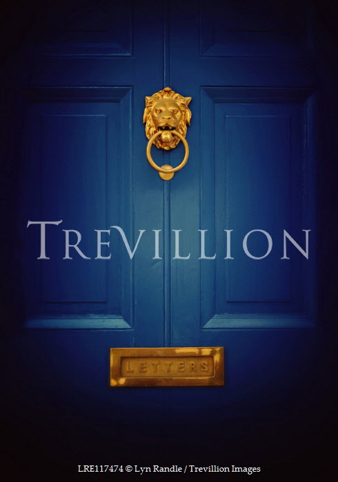 Lyn Randle BLUE DOOR WITH GOLDEN LION KNOCKER Building Detail