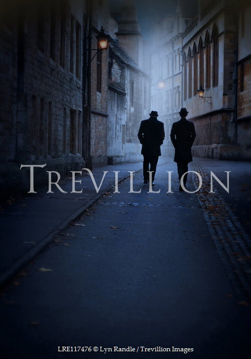 Lyn Randle TWO MEN WALKING IN OLD CITY STREET AT NIGHT Men