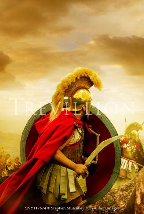 Stephen Mulcahey A spartan warrior, draws, his sword